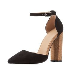 "COMING SOON  Pointed toe cork heel pump COMING SOON  Pointed toe cork heel pump. Open sides, buckle ankle strap, cushioned insole, nonskid rubber sole. 4"" heel. Like this listing to be notified when it comes in stock. Shoes Heels"
