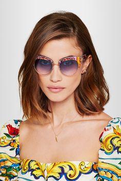 c94810592ac5 Dolce   Gabbana - Cat-eye printed acetate and gold-tone sunglasses