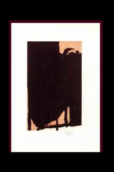 """Robert Motherwell - """"Elegy Fragment II"""", 1985 - Etching and aquatint in colors  - 34 1/2 x 24 in. (*)"""