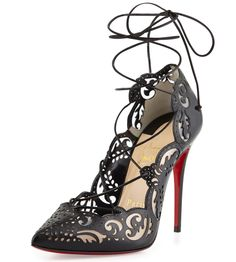 Christian Louboutin Impera Lace Up Laser Cut Red Sole Pumps