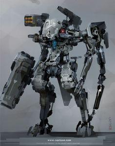Concept Art by Insu Lee Arte Robot, Robot Art, Robot Concept Art, Weapon Concept Art, Game Concept, Robot Militar, Gundam, Mecha Suit, Arte Cyberpunk
