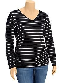 Women's Plus Side-Shirred V-Neck Tees