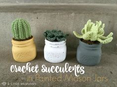 Fabulous DIY Crochet Cactus Plants – Free Pattern Yes, truly, truly fabulous! What is it about crocheting and cactus plants that makes the perfect mashup? We just know these little crochet succulent plants are fantastic! Perfect as a decorator ac… Diy Crochet Cactus, Crochet Flowers, Crochet Hats, Crochet Octopus, Crochet Monsters, Crochet Home Decor, Painted Mason Jars, Cactus Plants, Succulent Plants
