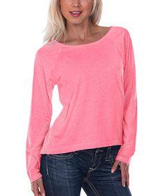 Look what I found on #zulily! Pink Flash Raglan Boatneck Tee #zulilyfinds