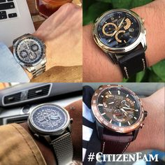 Watch name and model number clockwise 1. SATELLITE WAVE F900 MODEL: CC9010-74A $1995 http://www.citizenwatch.com/en-us/watches/watch-detail/?model=CC9010-74A 2. CALIBRE 8700 MODEL: BL8144-54H $575 http://www.citizenwatch.com/en-us/watches/watch-detail/?model=BL8144-54H 3. PERPETUAL CHRONO A-T MODEL: AT4006-06X $495 http://w…