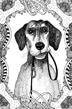Dog Doodle Card By Kim Attwooll Adult ColoringColouringZentanglesStressDoodlesMandalasZen