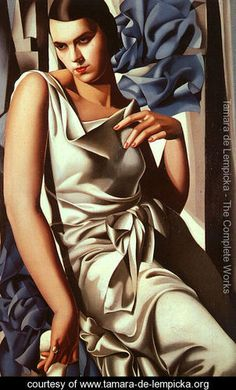 Portrait of Mrs. M - 1932. By Tamara de Lempicka (May 16, 1898 - March 18, 1980), born Maria Gorska in Warsaw, Poland, was a Polish Art Deco painter.    Born into a wealthy and prominent family, her father was a Polish lawyer, her mother, the former Malvina Decler, a Polish socialite.