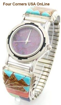 Four Corners USA Online - Men's Multi Color Inlay Sterling Watch Shown with Mohave Purple Turquoise Face Native American Silver Jewelry, $189.00 (http://stores.fourcornersusaonline.com/mens-multi-color-inlay-sterling-watch-shown-with-mohave-purple-turquoise-face-native-american-silver-jewelry/)
