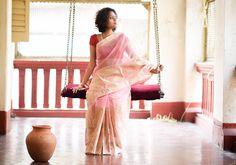 Cotton Sarees - Light Pink With Half Gold Flower Design -Super Net By Suta - PC - 15741 - 1