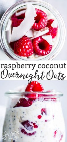 Raspberry Coconut Overnight Oats are an easy, healthy make ahead breakfast. Chilling them in the fridge overnight turns them into a delicious, creamy meal. Made with simple ingredients, kid-friendly and with a quick prep time, these will make your mornings so much easier! | #mealprep #healthy #healthyfood #healthyrecipes #healthyeating #cleaneating #overnightoats #breakfast #healthybreakfast #kidfriendly #recipe #easyrecipes #makeahead