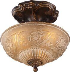 "0-007200>10""""w Restoration 3-Light Semi Flush Golden Bronze"