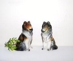 Vintage Collie Dog Shakers by CheekyVintageCloset on Etsy, $14.50