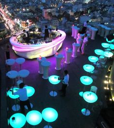 Furniture with Led light, wireless! Rooftop Lounge, Rooftop Restaurant, Rooftop Bar, Rooftop Dining, Hookah Lounge, Bar Lounge, Disco Party, Roof Top Cafe, Small Restaurant Design