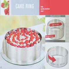 """""""6-12"""" Adjustable Stainless Steel Mousse Cake Ring 2Handle Layered Baking Mold #Unbranded"""