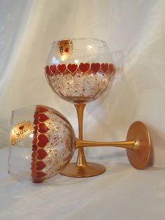 Hand Painted Wine Glasses Valentine's Day Set of 2 by HiMaria, $25.00