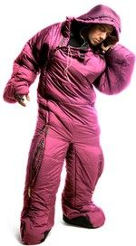 Sleeping bag suit...so you can jump up and run when wild animals attack in the middle of the night?  I'll be at Animal Kingdom Lodge...