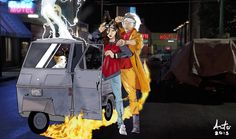 Back to the Future with Manila and Fabrizio by Antonio Palumbo  #backtothefuture #delorean #backintime