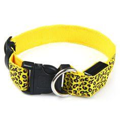 Free shipping Hot dog luminous flashing LED dog collar necklace leopard design