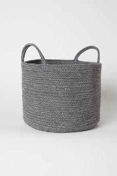 Cotton storage basket - Dark grey marl - Home All | H&M GB Storage Baskets, Bag Storage, Storage Ideas, Behind Couch, Basket Lighting, Blanket Storage, Cooling Blanket, H&m Home, Rustic Bathrooms