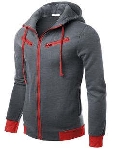 Doublju Mens Solid Full-zip Hood Jacket #doublju