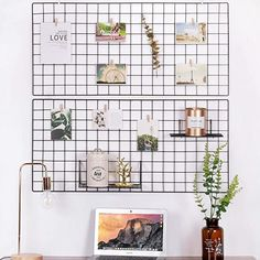 Kaforise Vinyl Dipped Wire Wall Grid Panel, Multifunction Photo Hanging Display and Wall Storage Organizer, Pack of Size Black Memo Boards, Wire Memo Board, Desk Storage, Storage Organization, Hanging Photos, Photo Hanging, Workspace Inspiration, Room Inspiration, Desktop