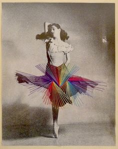 Mixed media artist Jose Ignacio Romussi Murphy from Chile embroiders vintage postcards and playfully brings the dancer's postures to life