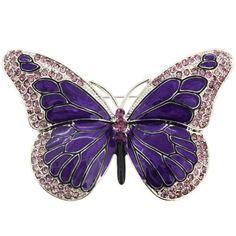 Amazon.com: Purple Enamel Crystal Butterfly Pin Brooch: Fantasyard: Jewelry