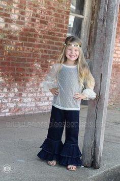 Dark Denim Ruffle Pants - Adorable Essentials, LLC