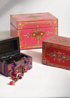Decorated Wooden Boxes We Love These Painted Wooden Boxes From Mary Lou Quinlan Our
