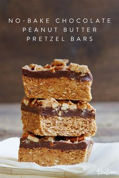 No-Bake Chocolate Peanut-Butter Pretzel Bars.