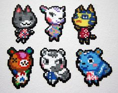 Animal Crossing Villager and Shopkeeper Perler Bead Sprite Magnets Perler Bead Designs, Melty Bead Designs, Perler Bead Art, Hama Beads Animals, Beaded Animals, Animal Crossing, Hama Beads Patterns, Beading Patterns, Pokemon Perler Beads