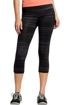 562311b27336a9 Old Navy Black Active Printed-compression Capris Activewear Bottoms Size 8  (M