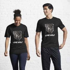 """""""Lone Wolf"""" Active T-Shirt by Joshua1870   Redbubble Beast Mode, Tee Shirt Homme, Female Models, Chiffon Tops, Vegas Golden Knights, Classic T Shirts, Fitness, Cool Stuff, Cheerleading"""