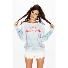 Wildfox Couture Flamingo Love Baggy Beach Jumper (€115) ❤ liked on Polyvore featuring tops, sweaters, multi, baggy jumpers, loose fit tops, loose tops, scoop neck top and beach tops