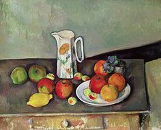 Paul Cezanne Paintings - Still life with milkjug and fruit  by Paul Cezanne