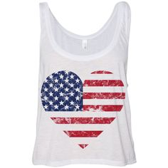 Cropped Tank Top Heart American Flag Summer Outfit Spring Fourth of July 4th Distressed Casual ($15) found on Polyvore featuring tops, heart tank top, neon pink tank top, neon pink crop top, summer tops and crop top