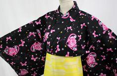 浴衣 Yukata japonais - Coeurs Roses et Rubans - Import direct Japon !