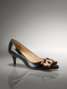 Dahlia Leather kitten-heel bow pumps, Talbots $149.00