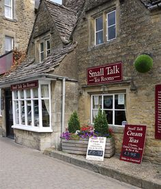 'Small Talk Tea Room' in Bourton On The Water in the Cotswolds. We ordered hot soup, crusty bread and tea and scones. mmm