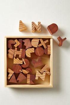 Alphabet wooden blocks.