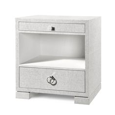 Bungalow 5 Frances 2 Drawer Side Table White bed side table, bedroom side tables, modern side table, white side table, side tables for living room Bungalow 5, Grasscloth, Furniture, White Accent Table, Table Furniture, White Side Tables, Bedroom Furniture, Bedroom Night Stands, Luxurious Bedrooms