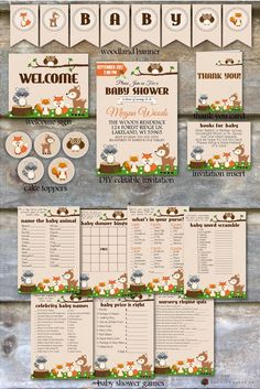 Printable Baby Shower Package  ► All files are pdf files and easily printed at home or a local print shop. No interaction with our shop is required, this is truly a DIY project for the customer that can be completed with virtually no effort!  Items Included:  - 5x7 Fully Editable Invitation - 4x3 Books for Baby Invitation Insert - 8x10 Welcome Sign - Cake Toppers Designed for 2 Punch - 4.25x5.5 Thank You Card - 5x7.5 Banner with all letters, numbers, and woodland animals, printable on letter…