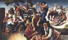 Thomas Hart Benton was an American painter and muralist. Along with Grant Wood and John Steuart Curry, he was at the forefront of the Regionalist art movement. American Realism, American Artists, Thomas Hart Benton Paintings, Street Art, Art Thomas, Social Realism, National Art, Art Moderne, Benson