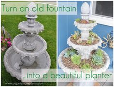 Turn in old fountain into a beatiful planter.