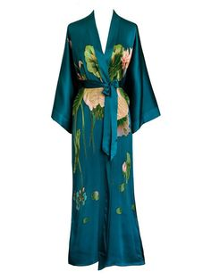 Old Shanghai Women's Silk Kimono Long Robe - Handpainted - Cherry Blossom White