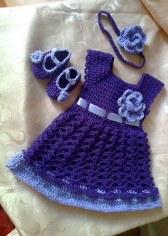 Crochet Baby Dress Baby Dress , Headband and Booties in  purple lavender ,  Bab...