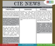 CIE News: * Marking a second straight rise, India's foreign exchange reserves climbed in the week ended September 18, 2015 driven by a rise in the value of foreign currency assets, putting Asia's third biggest economy on a strong footing amidst global jitters. * ICICI Bank Limited has said that the company has allotted equity shares on two different dates September 24 & 28, 2015 under the Employee Stock Option Scheme, 2000 (ESOS).