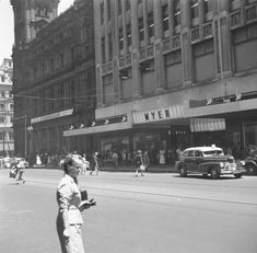 """Bourke Street """"Mall"""" with GPO and Myer store, late This section of the street was first closed to cars in Feb 1978 and the first official mall opened in 1956 Olympics, City Gallery, Street Mall, City Art, Melbourne Australia, Historic Homes, Historical Photos, Old Photos, 1950s"""