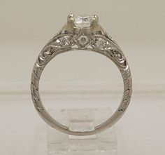 Vintage Diamond & 14k White Gold Edwardian Style Engagement Ring - Engagement Rings - Antique/Vintage Jewelry