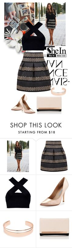 """""""Black High Waist Rivet Studs Striped Skirt by SheIn"""" by gigglycute ❤ liked on Polyvore featuring Motel, Charles David, Leith and Lipsy"""